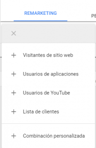 opciones remarketing adwords